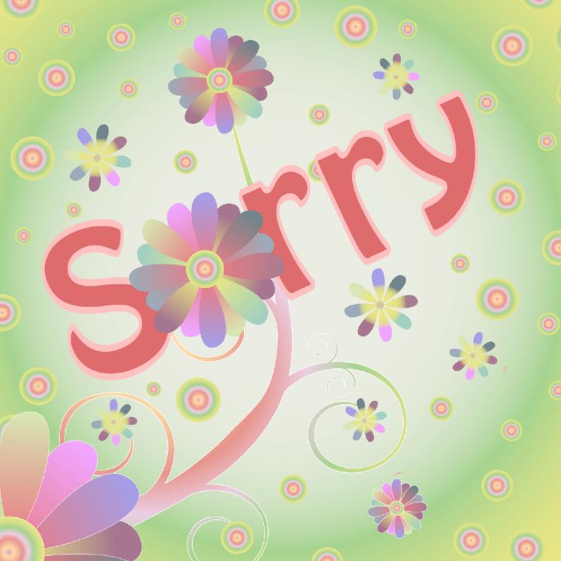 Sorry kaarten - Flowerpower kaart sorry