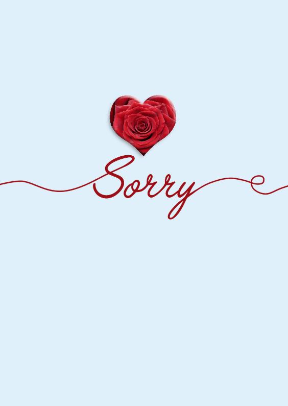 Sorry kaarten - Sorry kaartje sierlijke tekst met hartje