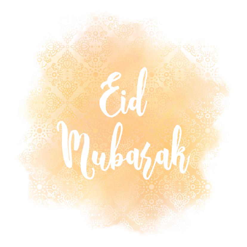Religie kaarten - Eid Mubarak kaart met patroon en waterverf