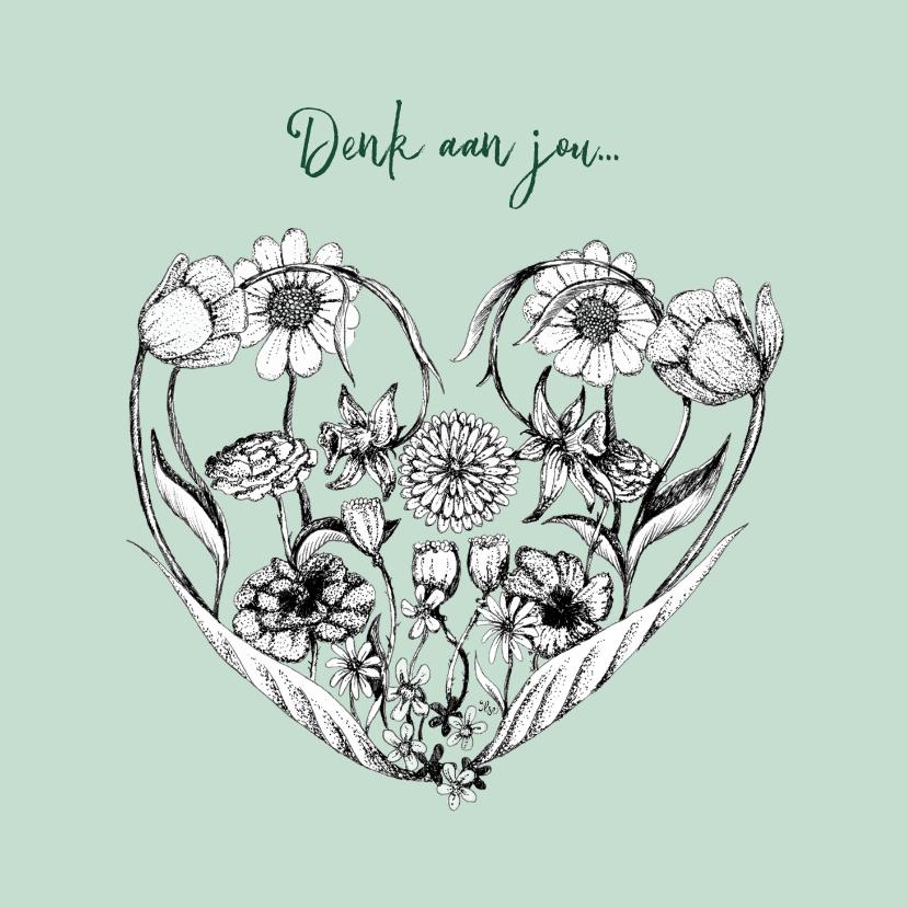 Sterkte kaarten - Denk aan je kaart met bloemen in hart vorm
