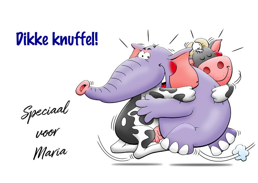 Sterkte kaarten - Grappige sterkte kaart knuffel met koe en olifant