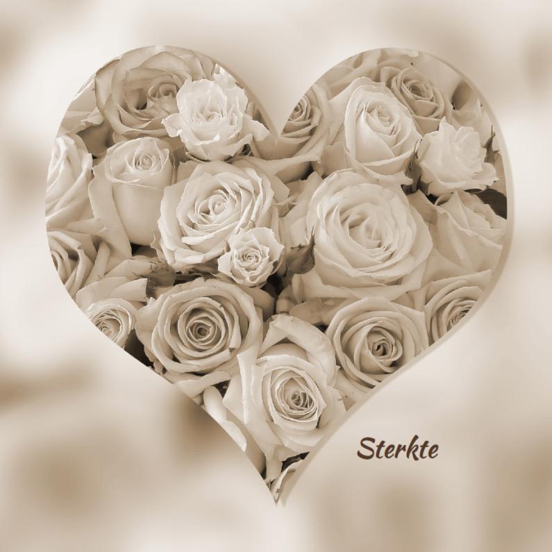 Sterkte kaarten - Hartvorm met rozen in sepia kleur