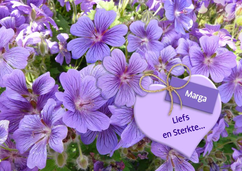 Sterkte kaarten - Mooie sterkte kaart hart en kaartje tussen purpert bloemen
