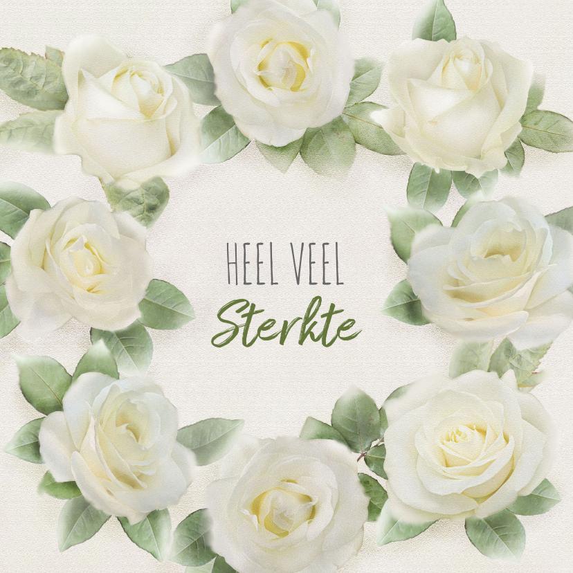 Sterkte kaarten - Mooie sterkte kaart met rozen op gewassen achtergrond