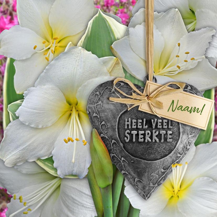 Sterkte kaarten - Mooie sterktekaart met witte Amaryllissen en label op hart