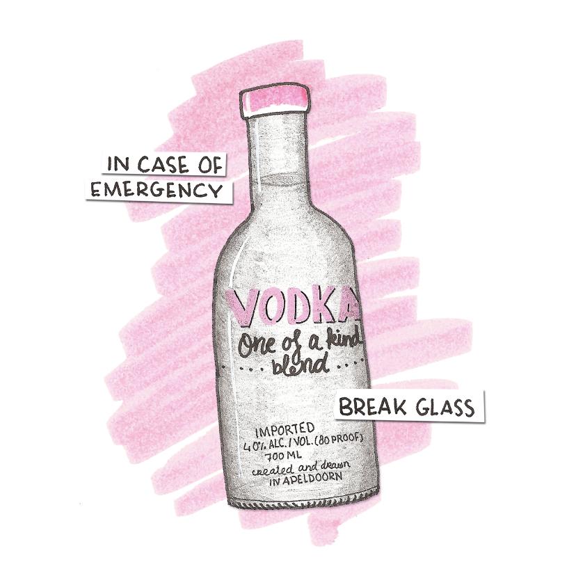 Sterkte kaarten - Roze kaart for a bad day met illustratie van een fles wodka