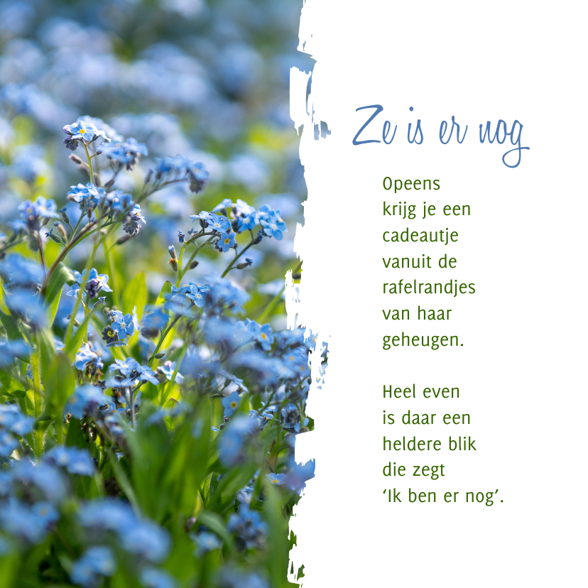 Sterkte kaarten - Sterkte Gedicht over Alzheimer met vergeet-me-nietjes