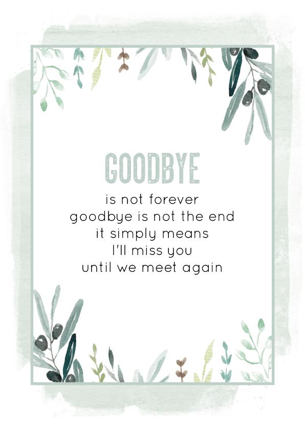 Sterkte kaarten - Sterkte kaart Goodbye
