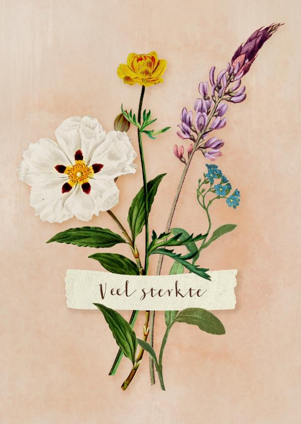 Sterkte kaarten - Sterkte kaart met klein boeketje van wilde bloemen