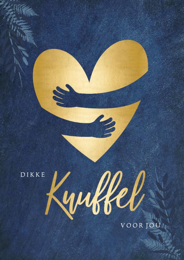 Sterkte kaarten - Sterktekaart blauwe kaart met gouden hart knuffel