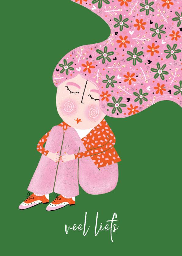 Sterkte kaarten - Sterktekaart dame bloemen in het haar