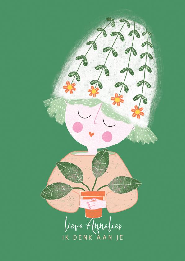 Sterkte kaarten - Sterktekaart dame plant groen