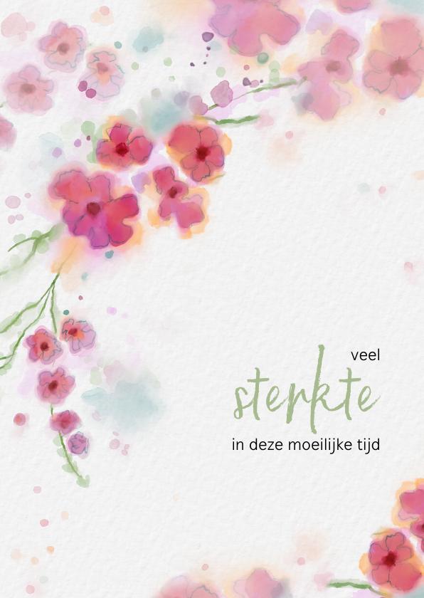 Sterkte kaarten - Sterktekaart met aquarel bloemen