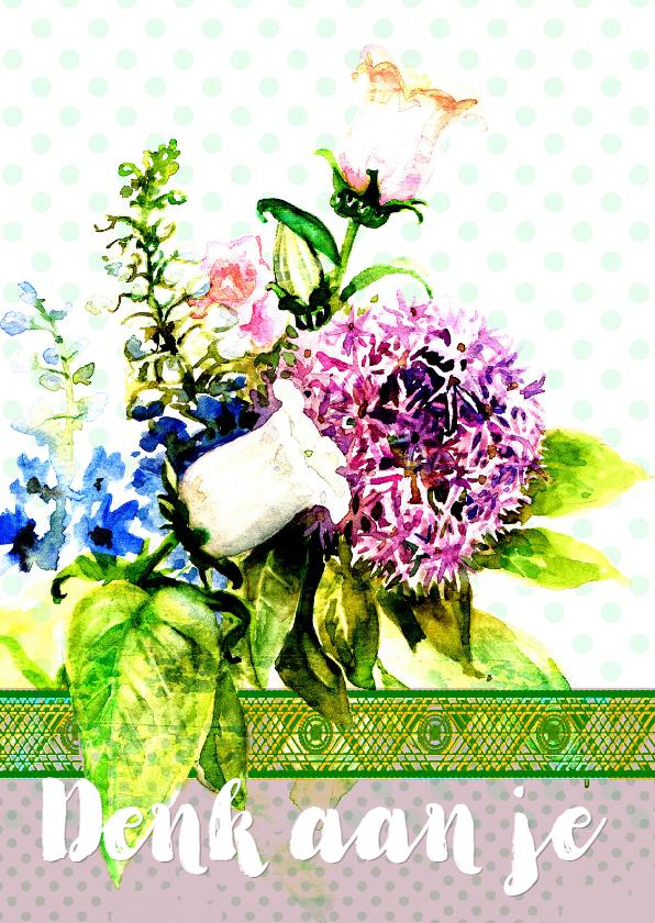 Sterkte kaarten - Sterktekaart met bos bloemen met stippen