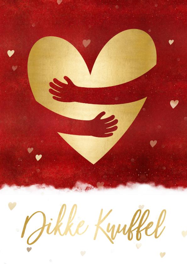 Sterkte kaarten - Sterktekaart met dikke knuffel en gouden hart