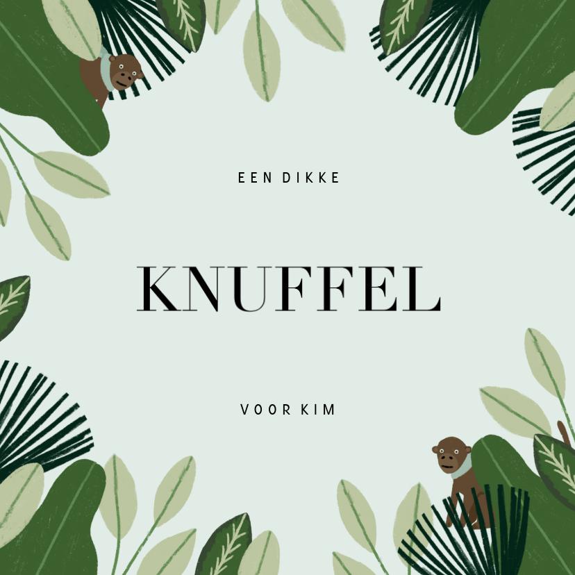Sterkte kaarten - Sterktekaart met jungle, aapje en 'dikke knuffel'