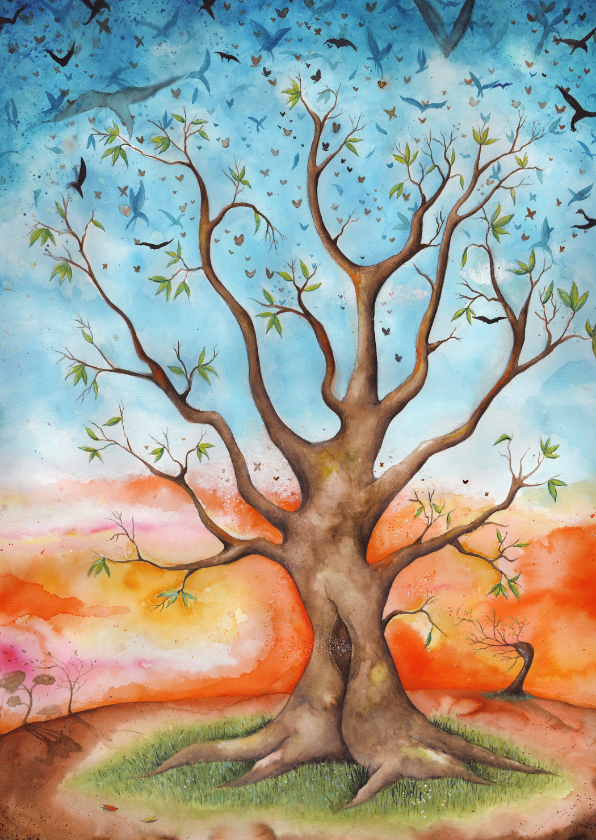 Sterkte kaarten - Sterktekaart met mooie geïllustreerde boom