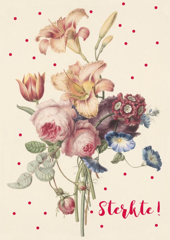 Sterkte kaarten - Sterktekaart met pastelkleurige bos bloemen en stippen