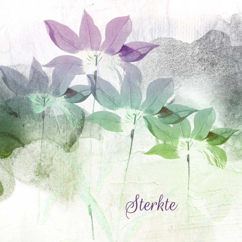 Sterkte kaarten - Sterktekaart paars groen bloemen