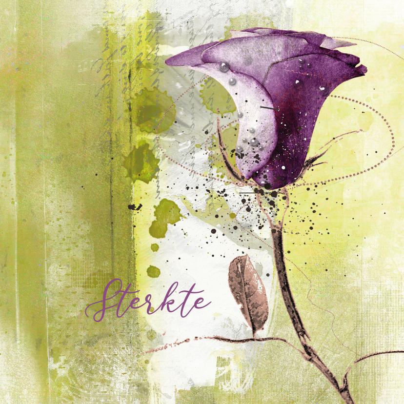 Sterkte kaarten - Sterktekaart paarse roos op groen