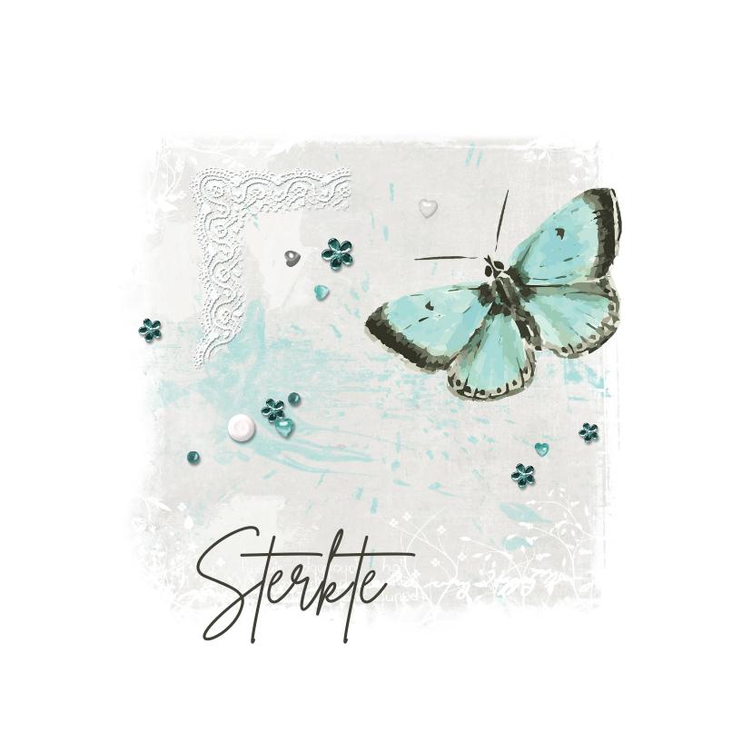 Sterkte kaarten - Sterktekaart pastel aquarel butterfly
