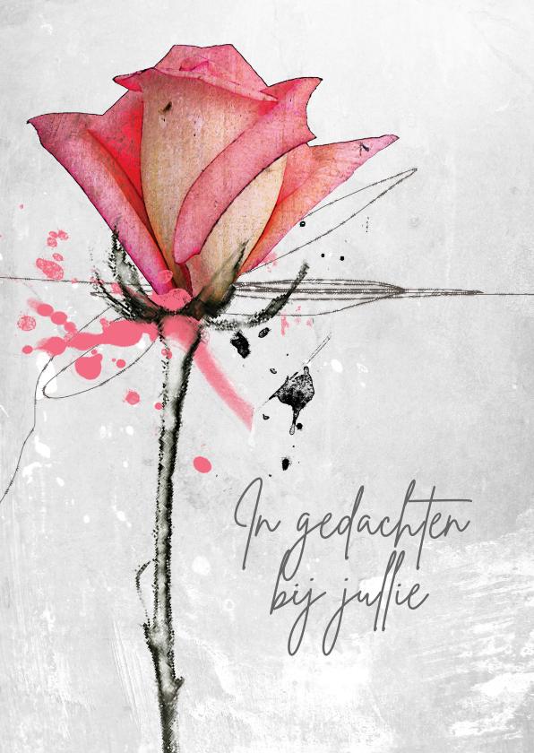 Sterkte kaarten - Sterktekaart roos roze gedachten