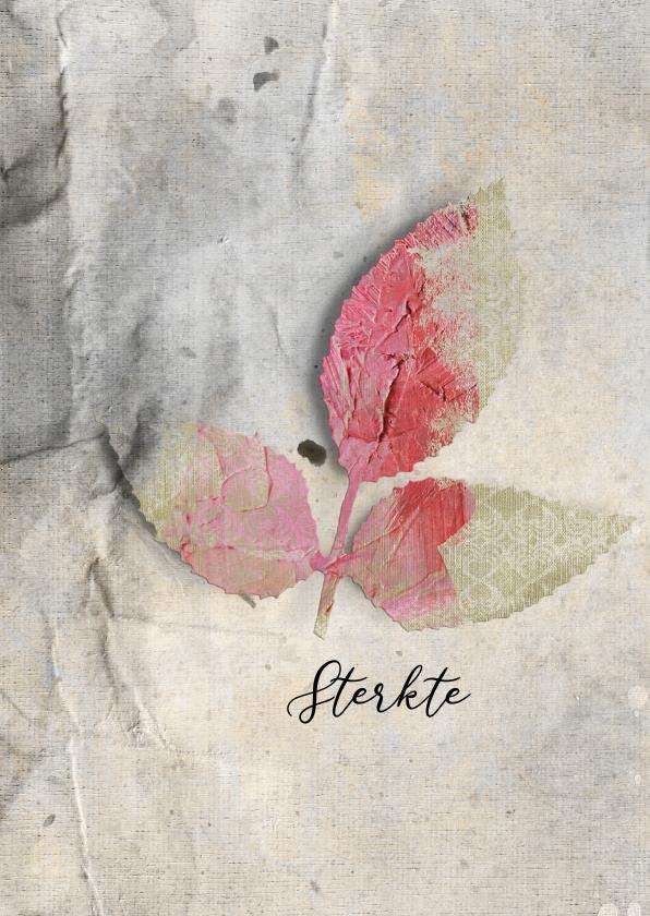Sterkte kaarten - Sterktekaart roze blad op grijs