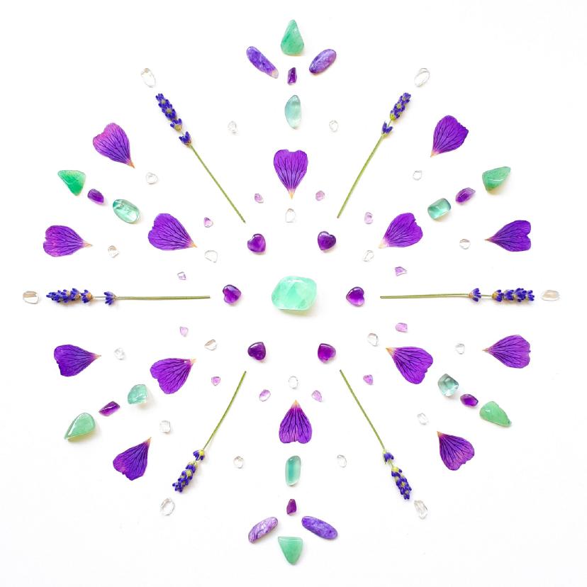 Sterkte kaarten - Vriendschapskaart mandala met fluoriet amethist en lavendel