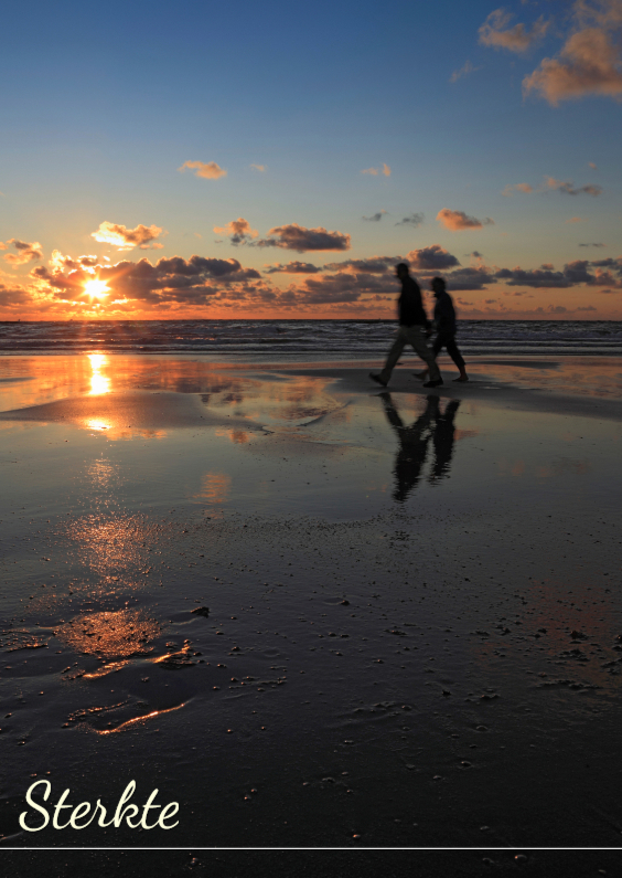 Sterkte kaarten - Zonsondergang langs de kust