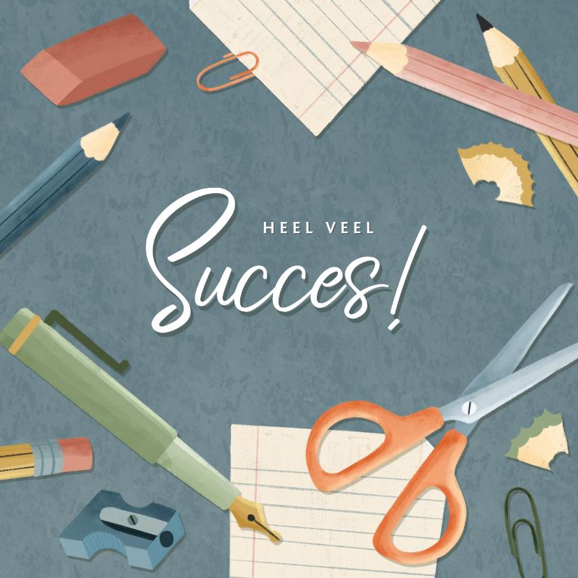 Succes kaarten - Hippe succeskaart jongen eerste schooldag met schoolspullen