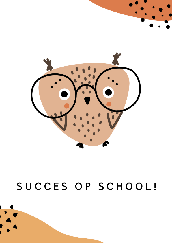 Succes kaarten - School kaart Uil, aanpasbare tekst