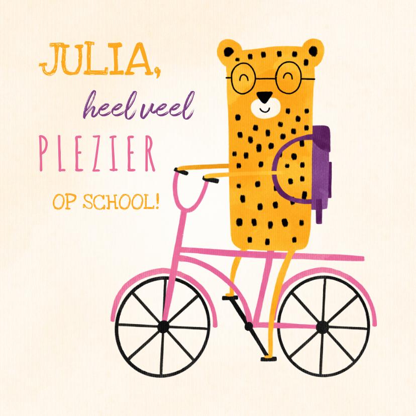 Succes kaarten - Succes kaart school met luipaardje op roze fiets