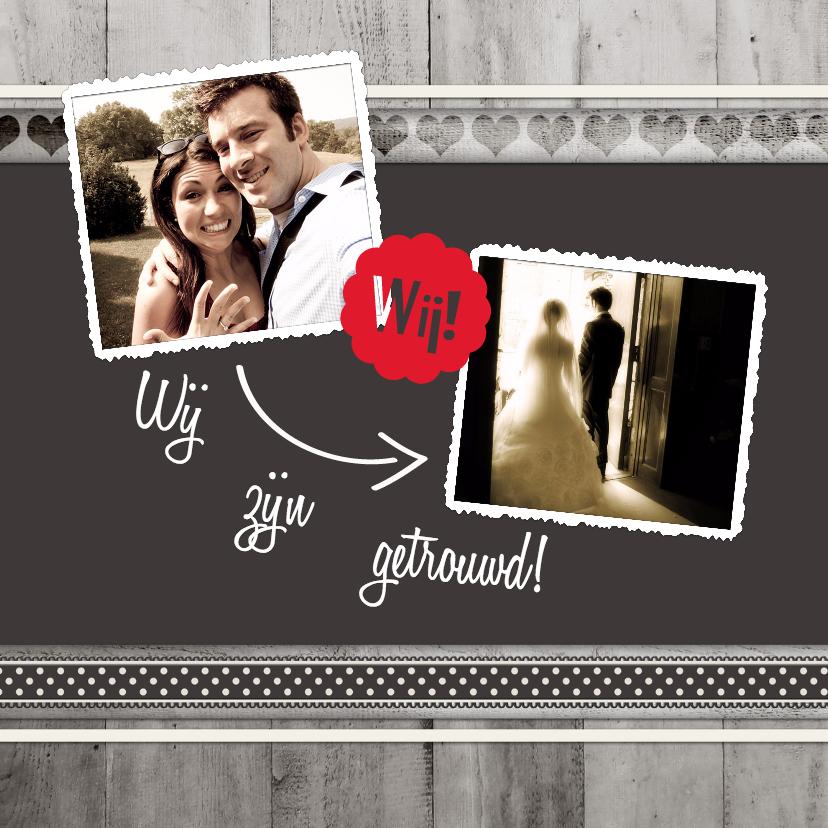 Trouwkaarten - Antraciet Wij zijn getrouwd - BK