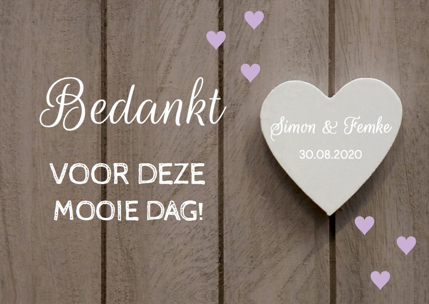 Trouwkaarten - Bedankjes bruiloft hartjes paars - LB