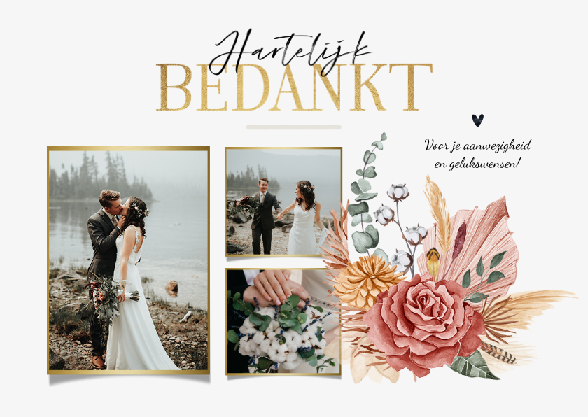 Trouwkaarten - Bedankkaart bohemian droogbloemen stijlvol goud fotocollage