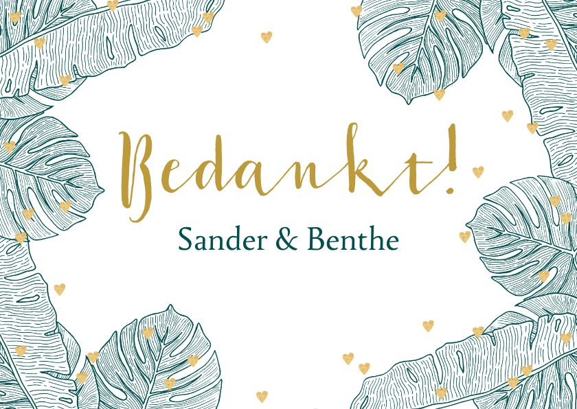 Trouwkaarten - Bedankkaart trouwen botanical hartjes