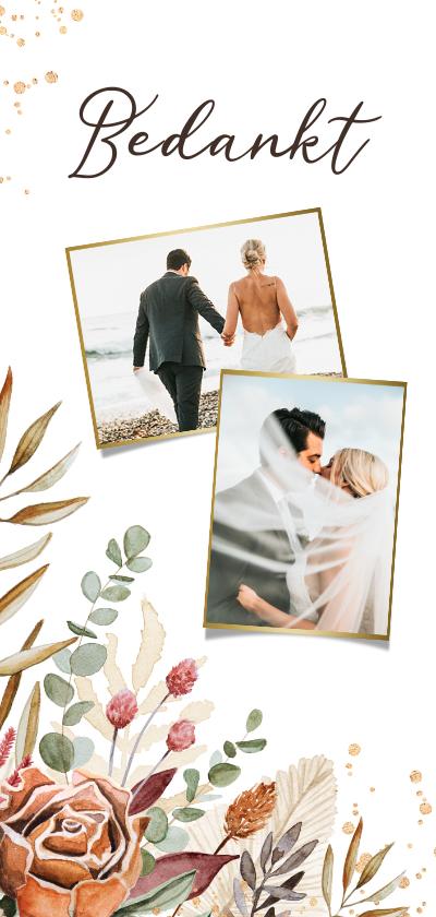 Trouwkaarten - Bedankkaart bruiloft Bohemian stijlvol droogbloemen foto's