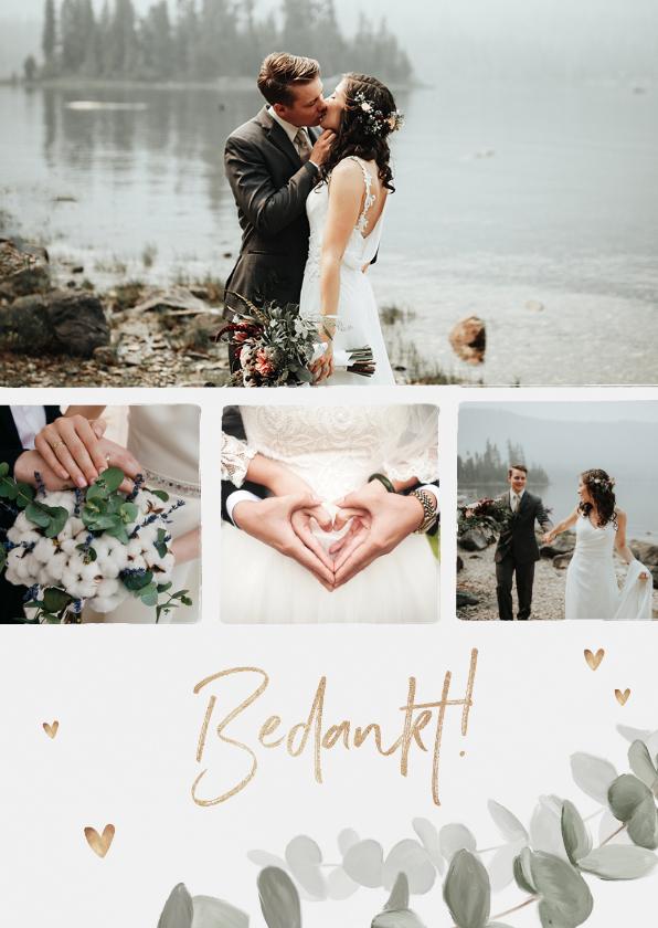Trouwkaarten - Bedankkaart bruiloft eucalyptus gouden hartjes foto's