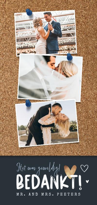 Trouwkaarten - Bedankkaart bruiloft fotocollage kurk punaise hartjes