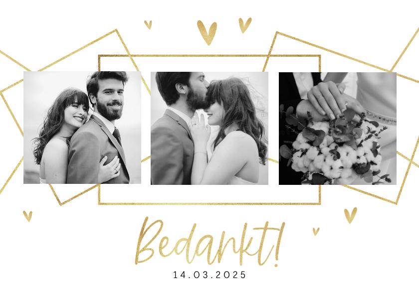 Trouwkaarten - Bedankkaart bruiloft grafisch stijlvol goud hartjes foto