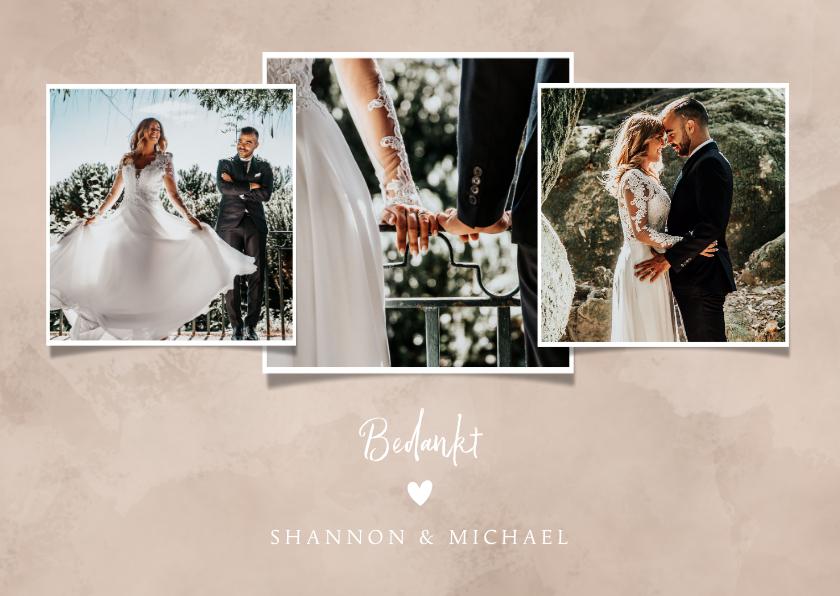 Trouwkaarten - Bedankkaart bruiloft neutrale waterverf fotocollage