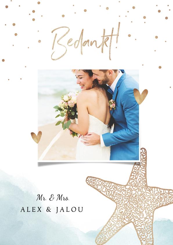Trouwkaarten - Bedankkaart bruiloft strand klassiek zeester goud