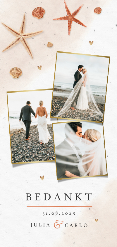 Trouwkaarten - Bedankkaart bruiloft strand schelpen waterverf zeesterren