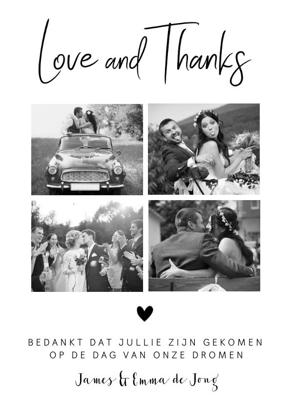 Trouwkaarten - Bedankkaart fotocollage zwart-wit hartje