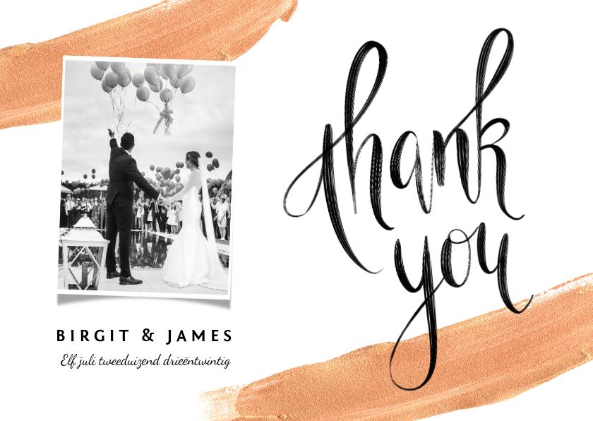 Trouwkaarten - Bedankkaart goudlook met verf en kalligrafie