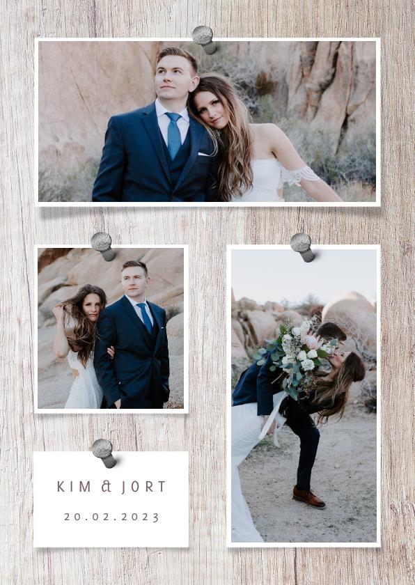 Trouwkaarten - Bedankkaart hout met foto's en spijkers