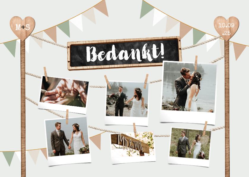 Trouwkaarten - Bedankkaart houtlook festival style wegwijzers fotocollage
