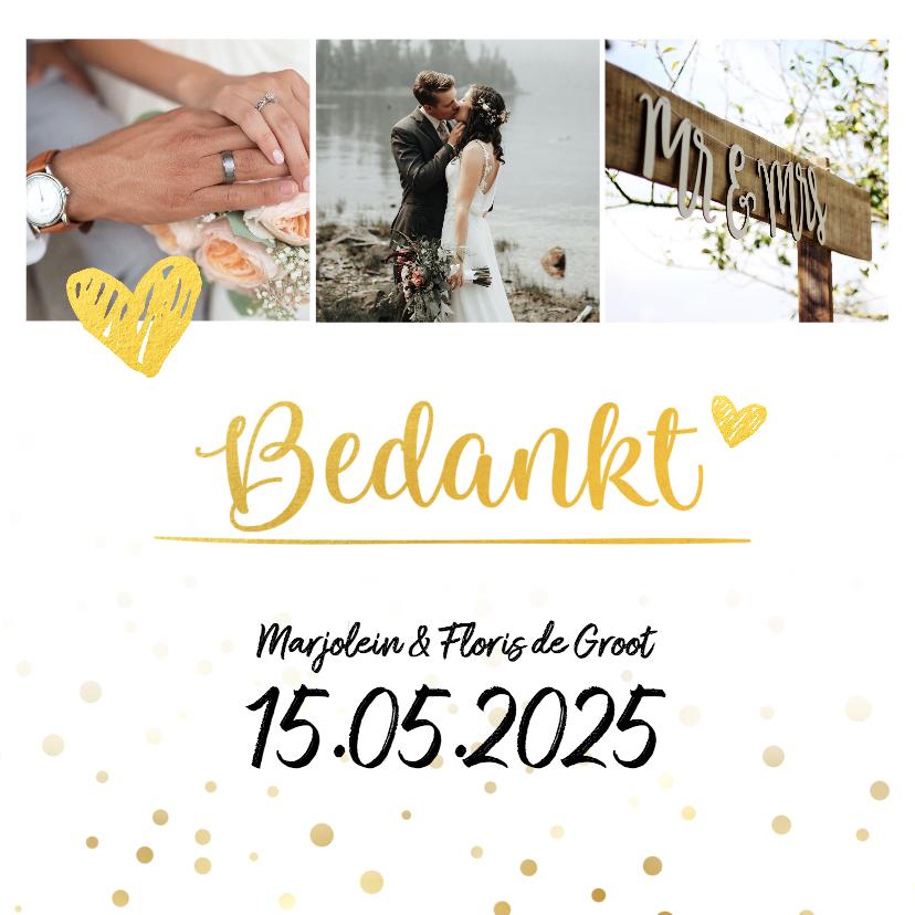 Trouwkaarten - Bedankkaart huwelijk met foto goud