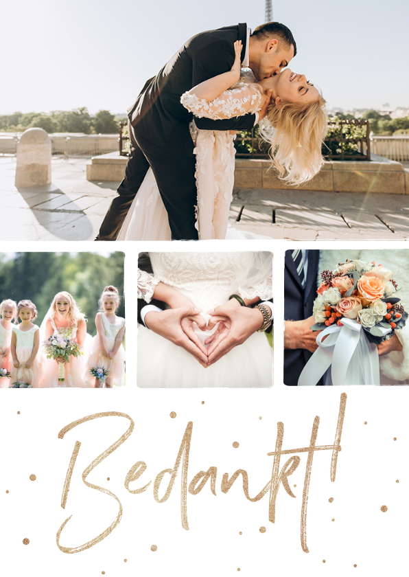 Trouwkaarten - Bedankkaart huwelijk stijlvol goudlook confetti fotocollage