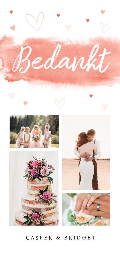Trouwkaarten - Bedankkaart langwerpig bruiloft aquarel coral pink
